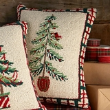Woodland Pine Tree with Red Bird Pillow