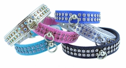 2 Row Rhinestones Vinyl Collar 3/4 in wide