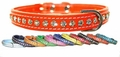 Leather and Crystals Dog Collars 1/2 inch wide