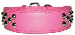 Pink Leather Collar with Studs