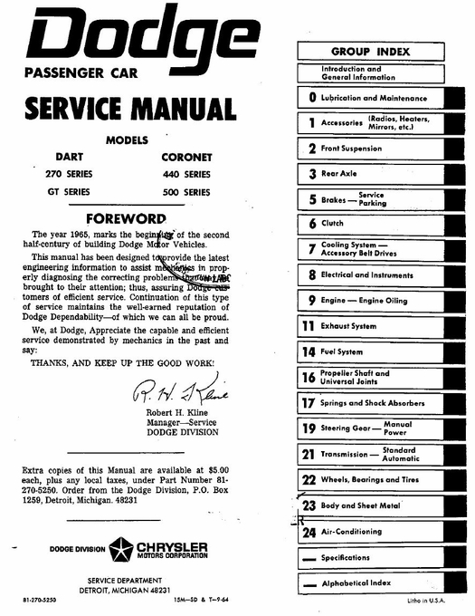 1965 Dodge Dart / Coronet Shop Manual