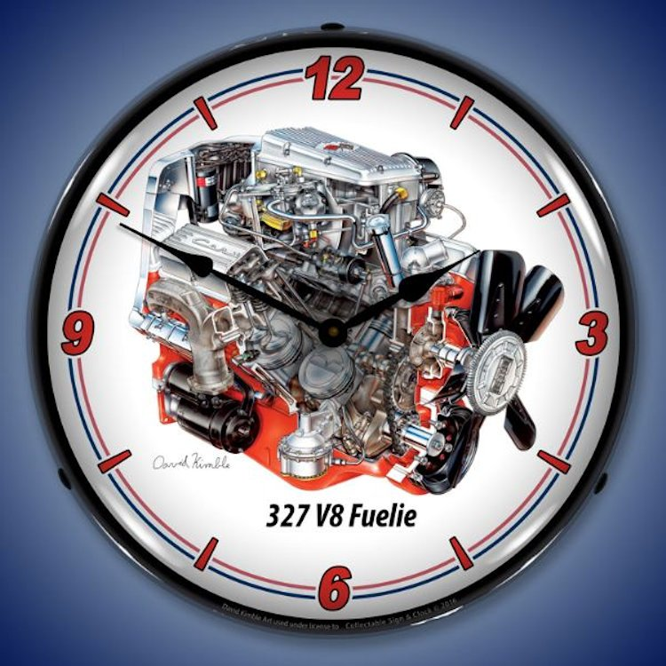 327 cid Fuelie V8 Engine Wall Clock, Lighted