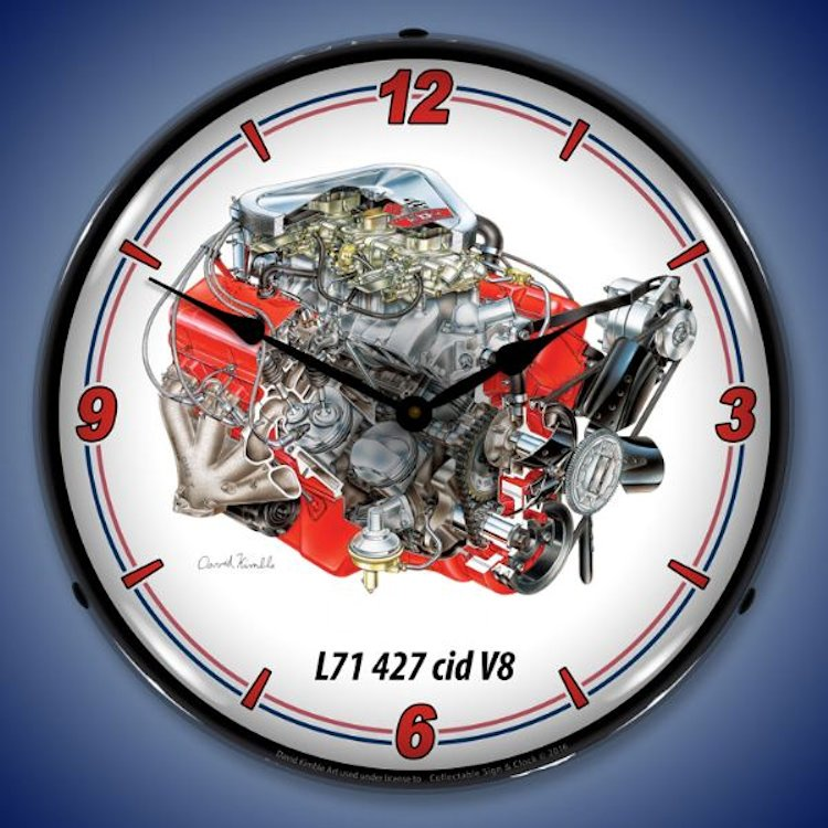 427 cid L71 V8 Engine Wall Clock, Lighted