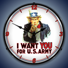 Americana and Military Wall Clocks, Lighted