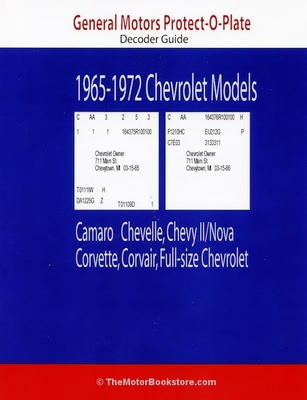 GM/Chevy Protect-O-Plate Decoder Guide: 1965-1972