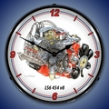 LS6 454 cid V8 Engine Wall Clock, Lighted
