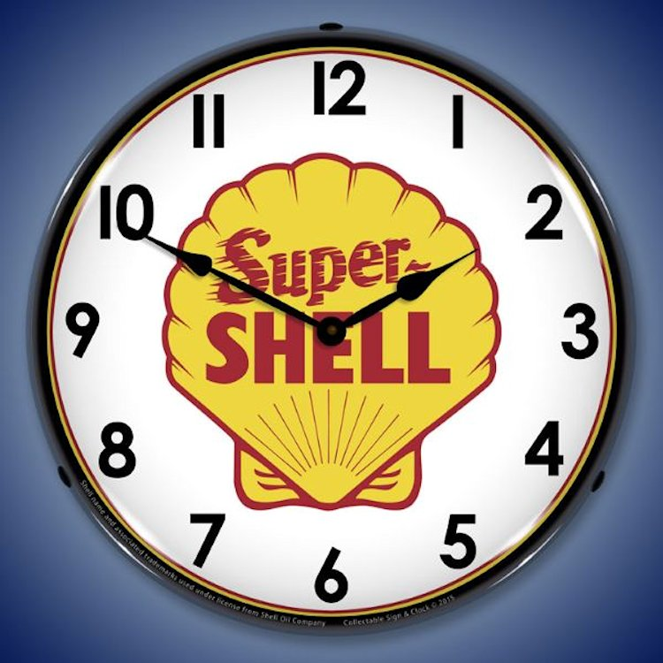 Gas Station And Motor Oil Theme Wall Clocks Lighted