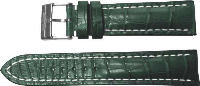 Breitling 22mm Green Crocodile Strap 748P