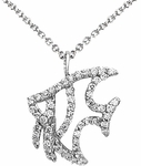 Diamond Pendant, .23 Carat Diamonds on 14K White Gold