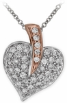 Diamond Pendant, .27 Carat Diamonds on 14K White & Rose Gold