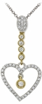 Diamond Pendant, .30 Carat Diamonds on 14K White & Yellow Gold