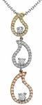 Diamond Pendant, .52 Carat Diamonds on 14K White, Yellow & Rose Gold