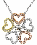 Diamond Pendant, .55 Carat Diamonds on 14K White, Yellow & Rose Gold