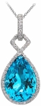 Diamond Pendant, .56 Carat Diamonds 14.22 Carat Topaz on 14K White Gold