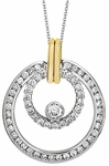 Diamond Pendant, .91 Carat Diamonds on 14K White & Yellow Gold