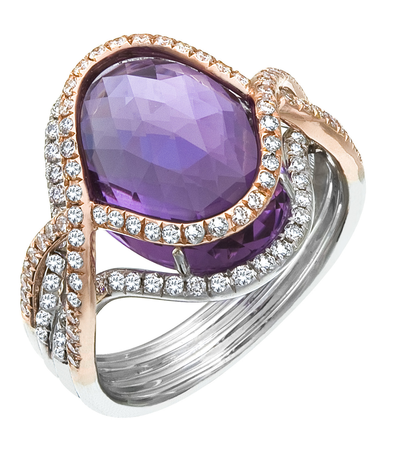 Two Tone White & Rose Gold La s Diamond & Amethyst Ring
