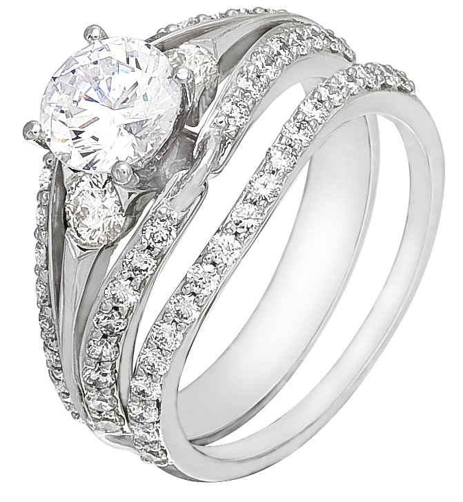 Wedding Ring Set Sale White Gold with Diamonds