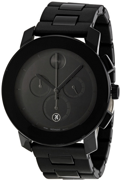 3600048 Movado Black Dial Pvd Steel Case And Bracelet