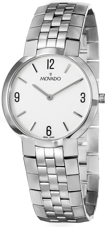0605565 Movado Faceto White Dial Mens Quartz Watch
