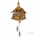 1 Day Musical Black Forest Chalet Cuckoo Clock with Bell Tower and Couple By H�nes