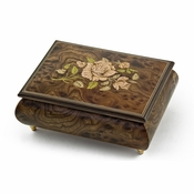 A Beautiful Single Rose Inlay Sorrento Musical Jewelry Box