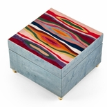 Artistic Light Blue Modern 'Abstract Expressionism' Musical Jewelry Box