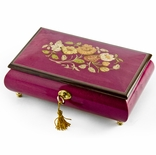 Beautiful 18 Note Red-Wine Floral Inlay Musical Jewelry Box with Lock and Key