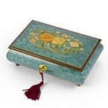Beautiful 22 Note Turquoise Floral Inlay Musical Jewelry Box with Lock and Key