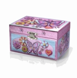 Colorful Butterfly and Flowers Decorative Spinning Ballerina Musical Jewelry Box