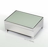Contemporary 30 Note White Spray Glass with Silver Finish Base Musical Jewelry Box
