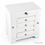 Contemporary 36 Note Matte White Spacious Musical Jewelry Box with Silver Hardware