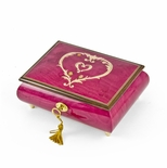 Artistic 30 Note Ornament Style Heart Outline Wood Inlay Musical Jewelry Box