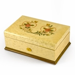 Gorgeous 50 Note Sankyo Egg Shell Double Heart and Roses Inlay Grand Music Box