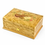 Gorgeous 50 Note Swiss Light Blonde Music Theme Inlay Grand Music Box