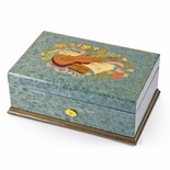Gorgeous Handcrafted 72 Note Swiss Light Blue Music Theme Inlay Grand Music Box