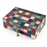 Gorgeous 18 Note Modern Pastel Checkered Sorrento Music Jewelry Box with Lock and Key