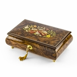Handcrafted 18 Note Natural Wood Tone Music Theme Musical Jewelry Box