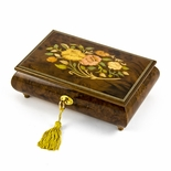 Handcrafted 22 Note Italian Walnut Floral Inlay Musical Jewelry Box with Lock and Key