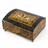 Handcrafted 30 Note Dome-Top Arabesque Inlay with Rosewood Border Music Jewelry Box