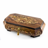 Handcrafted 30 Note Wood Tone Grand Double Level Music Theme Musical Jewelry Box