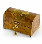 Handcrafted 36 Note Wood Tone Floral Inlay Treasure Chest Musical Jewelry Box