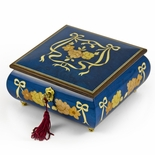 Handcrafted Radiant Blue 30 Note Roses and Ribbons Musical Jewelry Box with Lock and Key