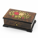 Handcrafted Swiss 36 Note Red and White Rose Inlay Grand Music Box