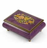 Old World 30 Note Italian Violet Floral Music Jewelry Box