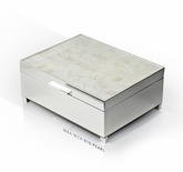 Pristine 30 Note Mother of Pearl with Silver Base Musical Jewelry Box
