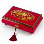 Radiant 22 Note Italian Red Wine Floral Inlay Musical Jewelry Box with Lock and Key