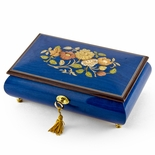 Radiant 22 Note Royal Blue Floral Inlay Musical Jewelry Box with Lock and Key