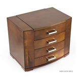 Sleek 30 Note Ultra Modern Natural Wood Tone Grand Musical Jewelry Box with Silver Hardware