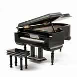 Sophisticated 22 Note Miniature Musical Hi-Gloss Black Grand Piano with Bench