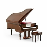 Sophisticated 30 Note Miniature Musical Hi-Gloss Brown Grand Piano with Bench